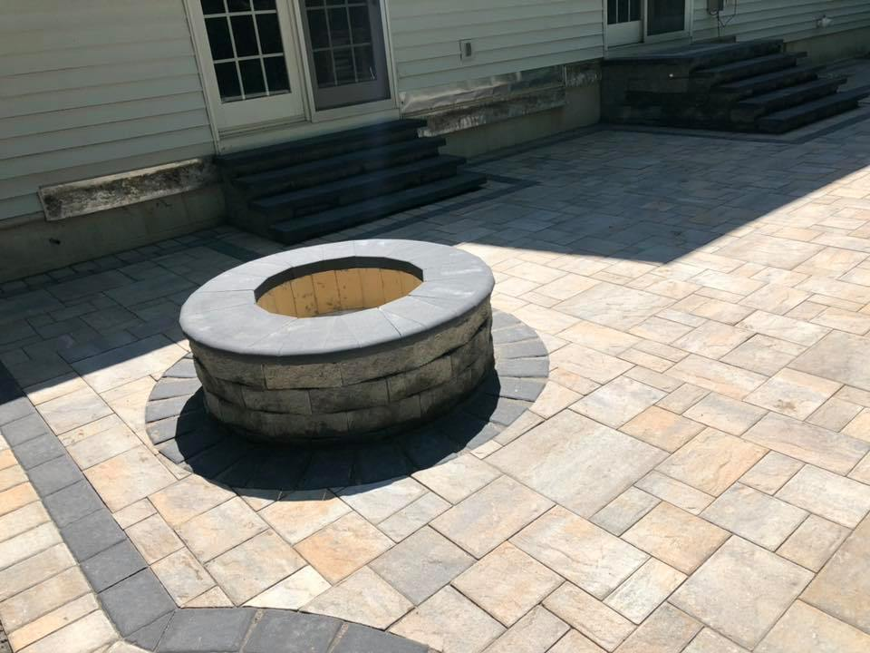 firepit and stone patio