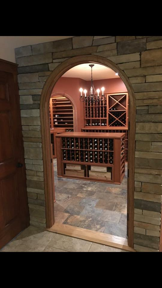 finished basement project wine tasting room