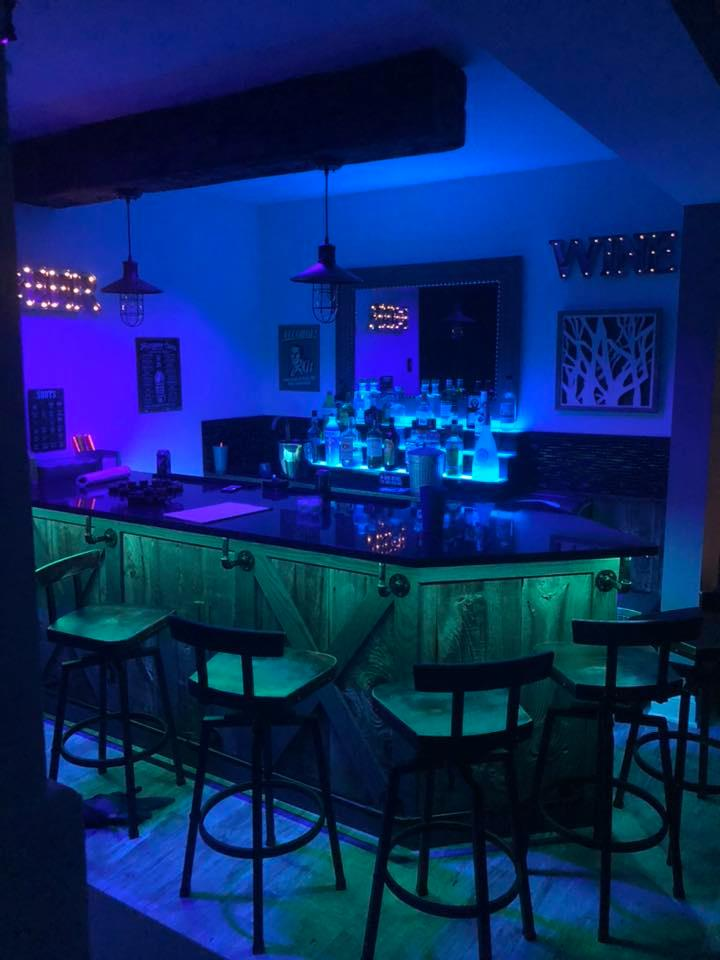 finished basement and bar