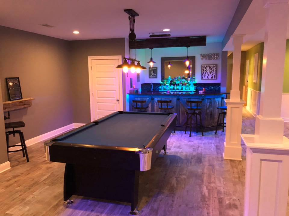 finished basement and gameroom
