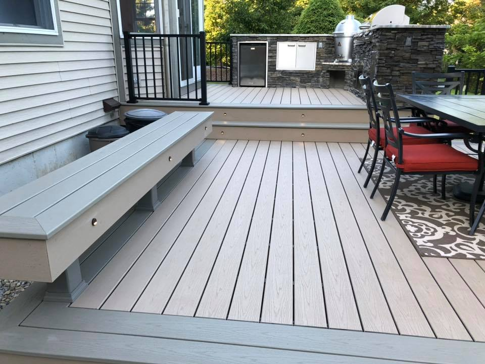 trex deck and built in benches
