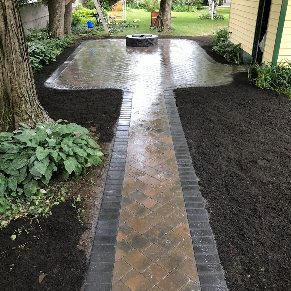 stone path to firepit