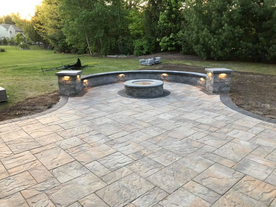 firepit and hardscape patio with lights
